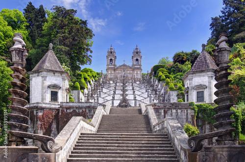 Fotografie, Obraz  Stairway to the church of Bom Jesus do Monte in Braga (Portugal)