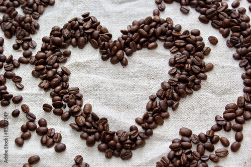 coffee beans formed to heart