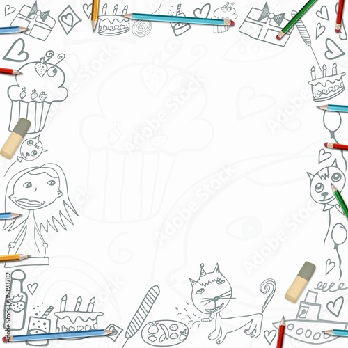 Foto op Aluminium Vogels in kooien Happy Birthday childish sketches frame isolated on white background