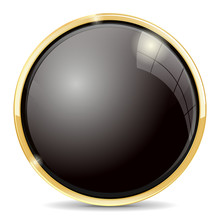 Shiny Black Button With Golden Frame