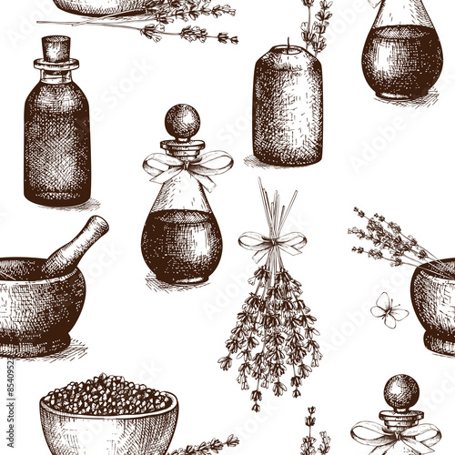 Photo  Vector seamless pattern with ink hand drawn lavender illustration