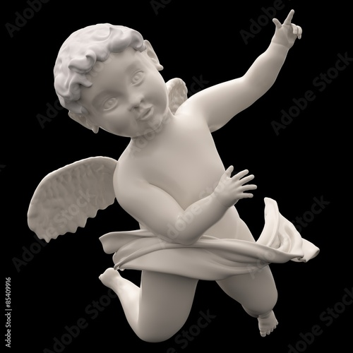 Marble Angel Chubby Male Child Winged Wallpaper Mural