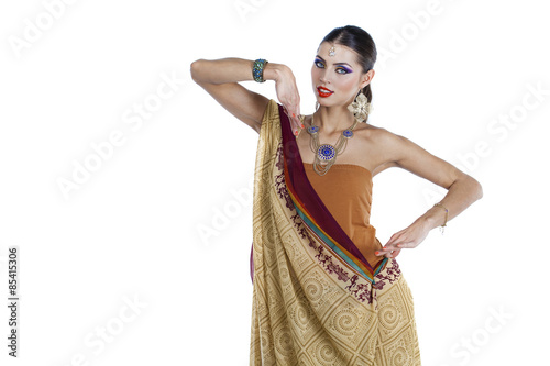 Fotografering  Young pretty woman in indian dress