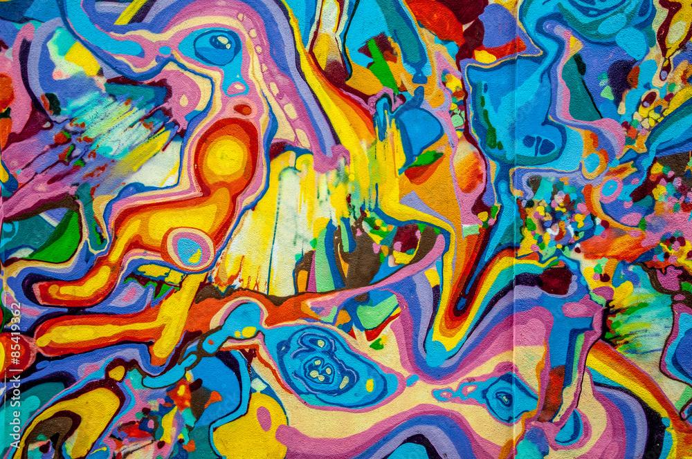 Fototapety, obrazy: graffitis aux couleurs vives sur murs et gouttières