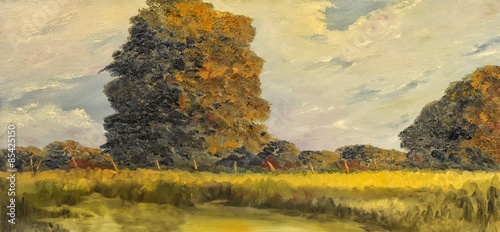 Foto op Aluminium Oranje Oil painting