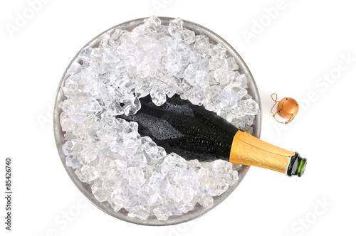 Fotografie, Obraz  Champagne in ice overhead view