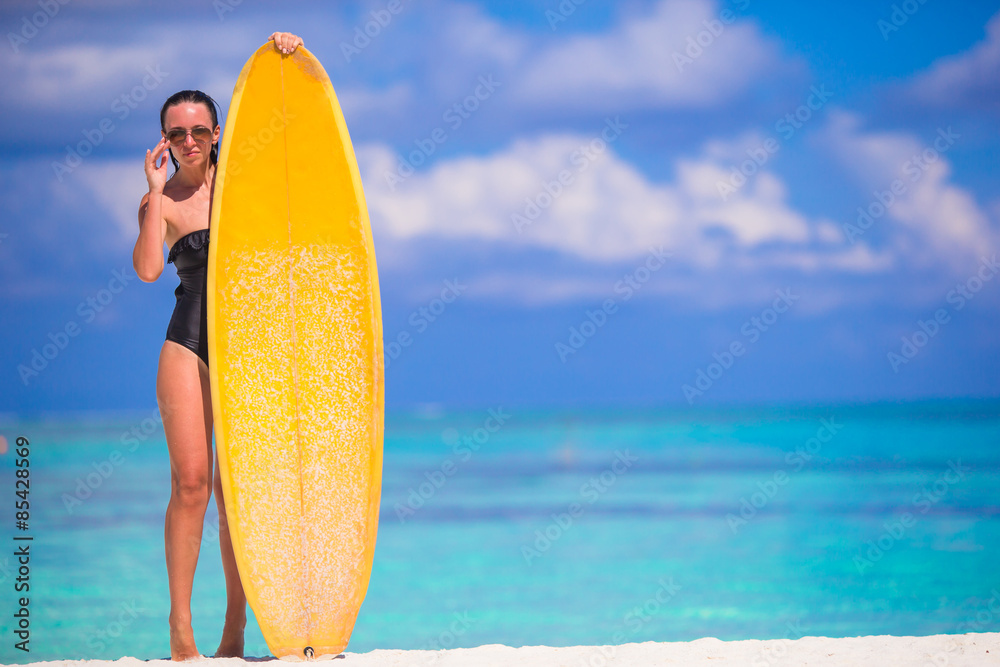 Poster Foto Happy Slender Surf Woman At White Beach With