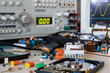 desk in electronic laboratories, faulty HDD and power supplies b