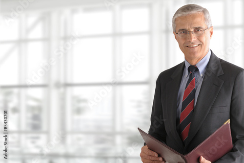 Photo  Mature Businessman Holding Folder