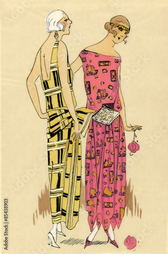 Fotografie, Obraz  Fashion illustration from a French fashion magazine during the 1920s