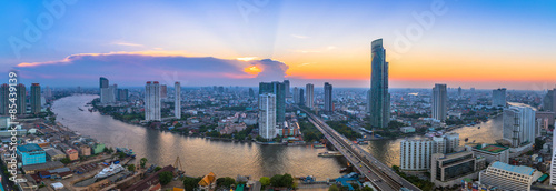 Landscape of river in Bangkok cityscape with sunset Wallpaper Mural