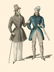 Victorian fashion Illustration from from French fashion magazine in 1830's