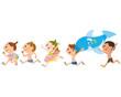 子供達が海、プールで走る