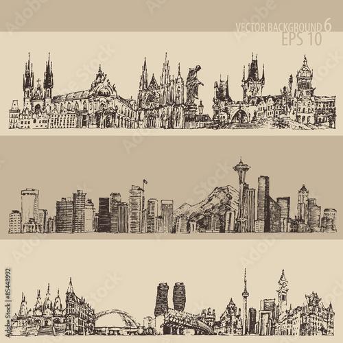 miasto-zestaw-praga-toronto-seattle-duze-miasto-architektura-vintage-grawerowane-ilustracja-recznie-rysowane-szkic