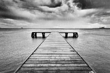 Old Jetty, Pier On The Sea. Bl...