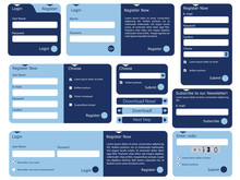 Web Form With Trendy Blue Flat...