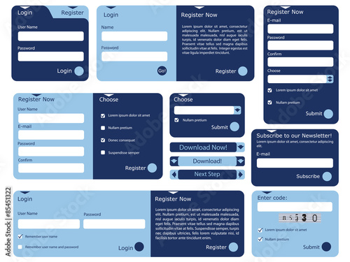 Fotografía  Web form with trendy blue flat design
