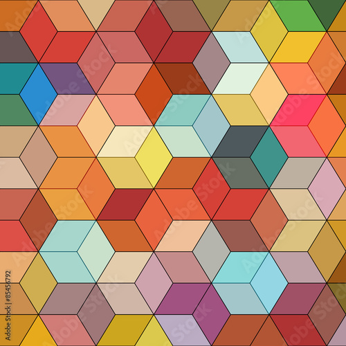 Abstrakcjonistyczny tło z kolorowymi hex wielobokami
