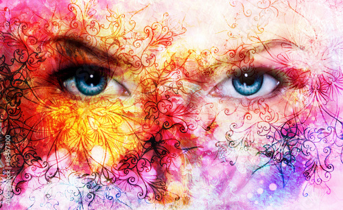 Fototapety, obrazy:  beautiful blue women eyes, color effect, painting collage, viol
