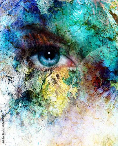 Fototapety, obrazy: beautiful blue women eye beaming, color desert crackle effect,