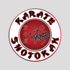 Panel Szklany Sztuki walki logo karate shotokan