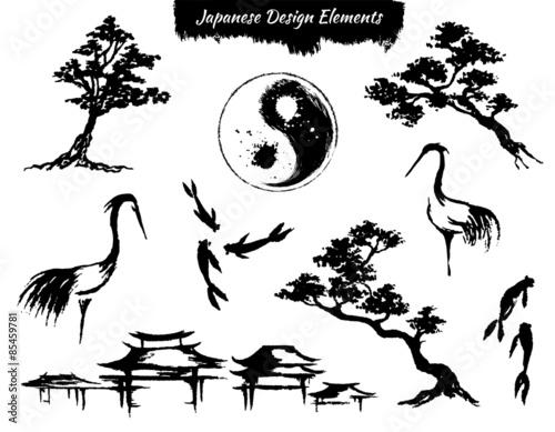 Fotografie, Obraz  Set of asian design element