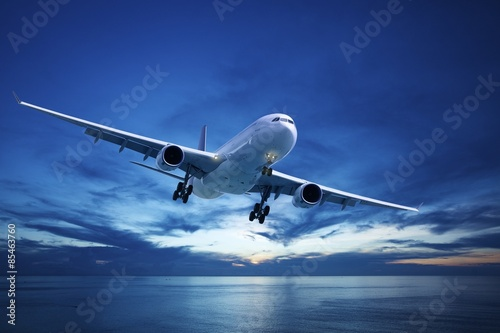 Jet plane over the sea at dusk Wallpaper Mural