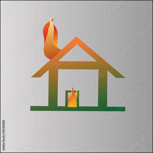 Fotografie, Obraz  Burning house symbol