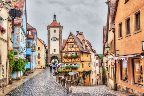 Fotomural  Medieval town Rothenburg ob der Tauber in rainy weather