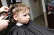 Serious child having a haircut