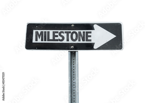 Fotografering  Milestone direction sign isolated on white