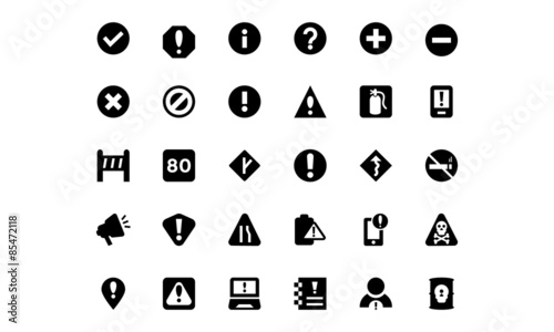 Fotografie, Obraz  Warning Vector Icons 2