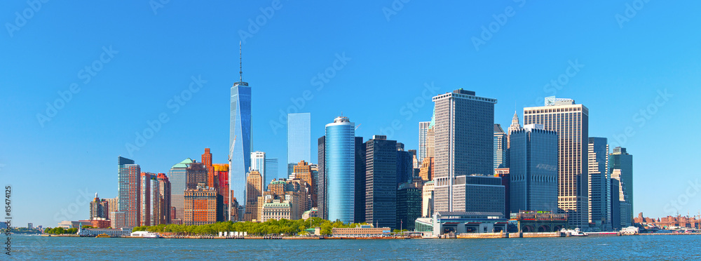 Fototapety, obrazy: New York City lower Manhattan financial  wall street district buildings skyline on a beautiful summer day with blue sky