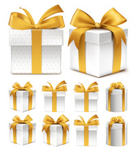 Realistic 3D Collection Of Colorful Gold Pattern Gift Box With Ribbon And Bow
