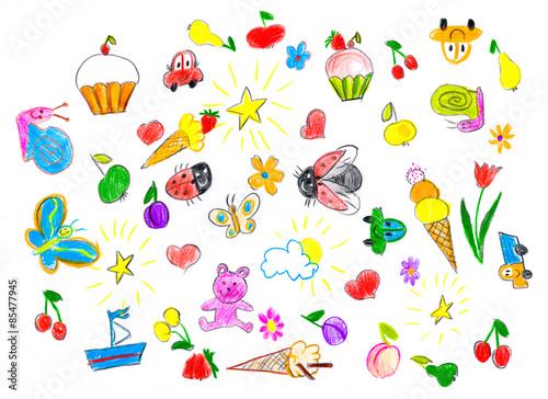 hand drawn childish object set. childs drawing