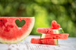 canvas print picture - decorated watermelon slices