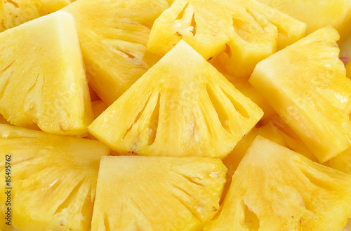 Photo Close up slice pineapple background texture