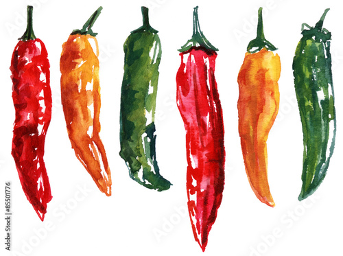 Fotomural A set of six watercolour chili peppers on white background