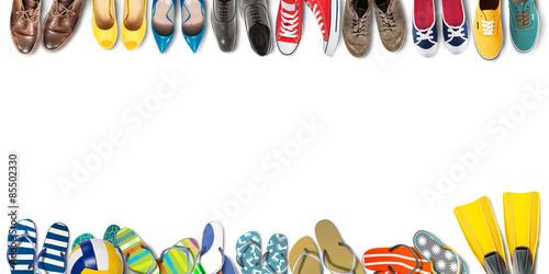 Fotografia  Summer holidays, office shoes colored flip flops, travel