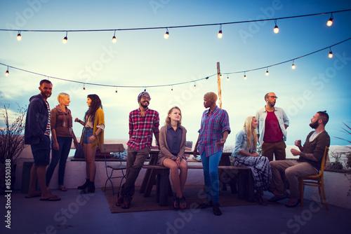 Fotografie, Obraz  Diversity Sundown Beach Chatting Roof Top Fun Concept