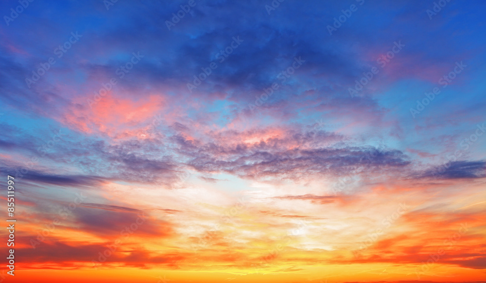 Fototapety, obrazy: Texture of bright evening sky during sunset