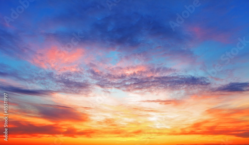 Acrylic Prints Sunset Texture of bright evening sky during sunset