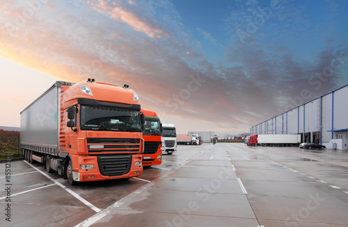 Truck in warehouse - Cargo Transport Fotobehang