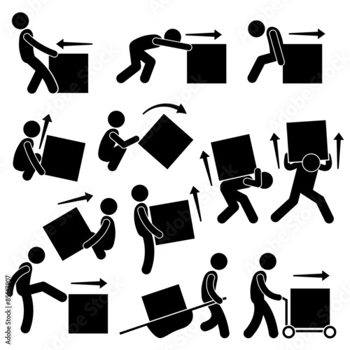Fotomural Man Moving Box Actions Postures Stick Figure Pictogram Icons