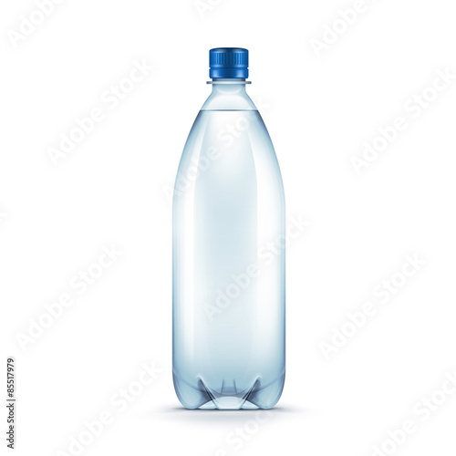 Fotografie, Obraz  Vector Blank Plastic Blue Water Bottle