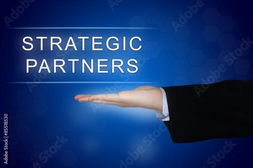 Fotografía  strategic partner button on blue background