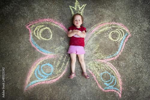 Fotografia, Obraz  Little girl Butterfly, CAPRICE