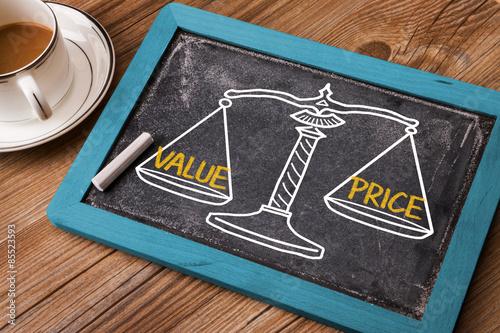 Pinturas sobre lienzo  Concepto de valor del precio en la escala del balance