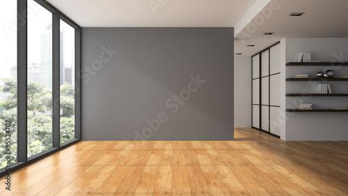 Fotografía  Empty room with book shelfs 3D rendering