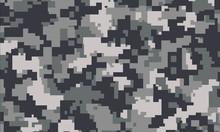 Vector Background Of Grey Digital Camoflage